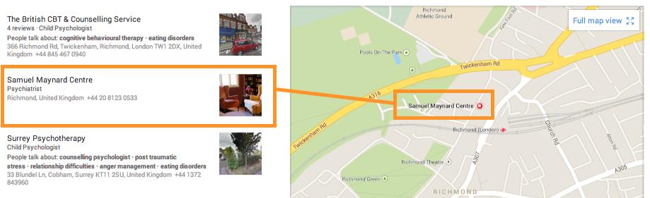 Hide address Google maps results
