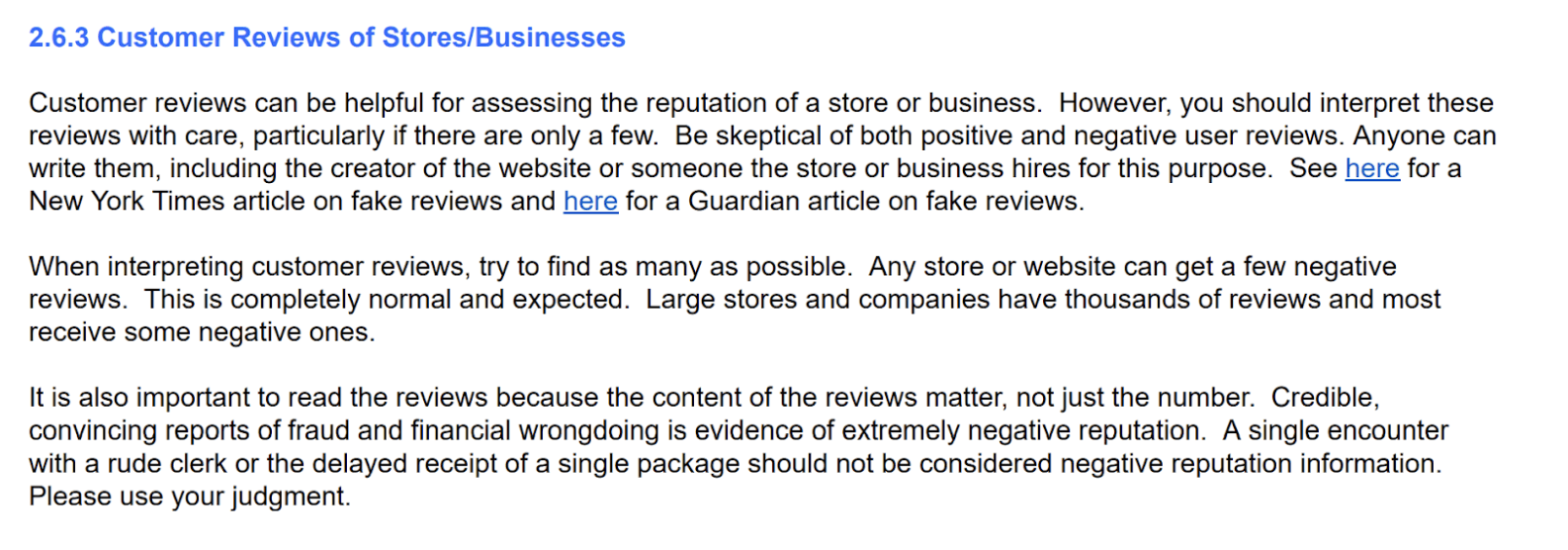Google Quality Raters' Guidelines - Customer Reviews