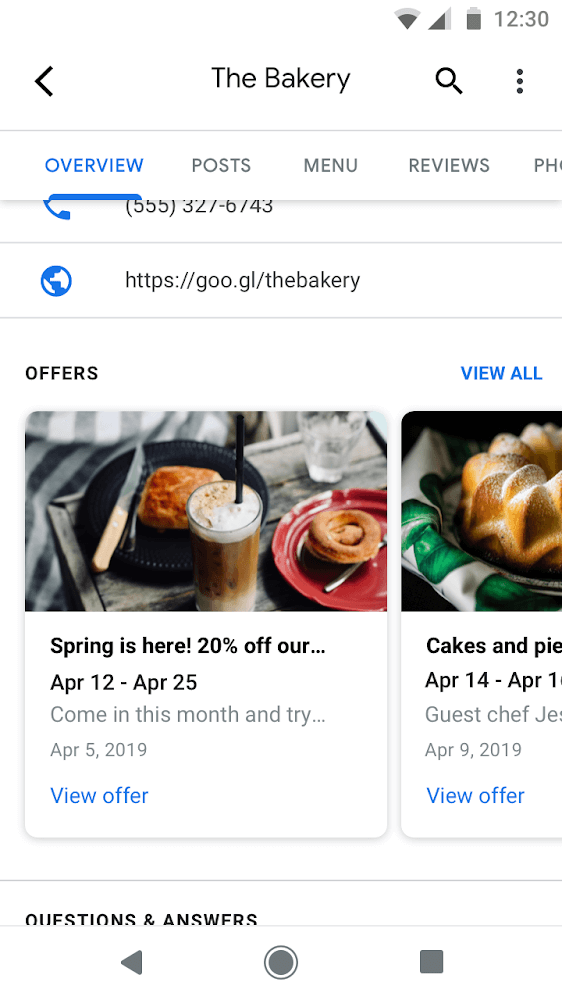 Google Post Offer Type Placement